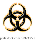 Burning biohazard warning sign - infected specimen 68974953