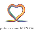 Heart shape painting with colorful brush 68974954