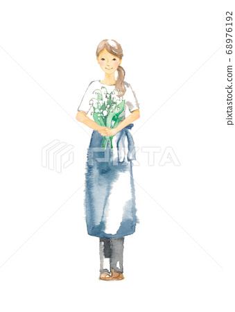 山谷的百合花,一個年輕的女人,期待著和微笑 68976192