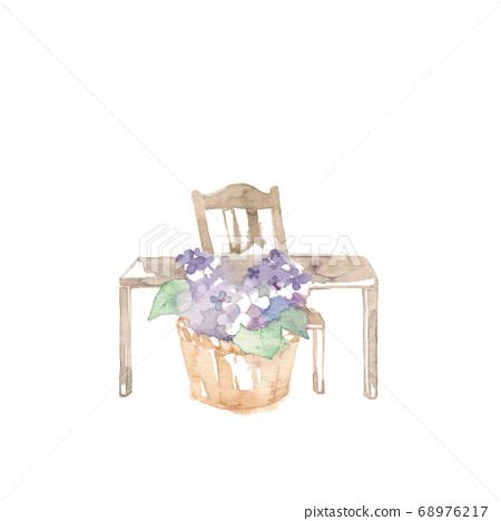 꽃 소재, 앤티크 가구와 수국 68976217