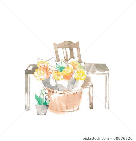꽃 소재, 앤티크 가구와 노란 장미 68976220