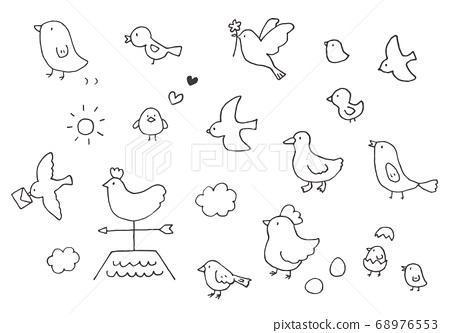 手繪鬆散的鳥圖(單色) 68976553