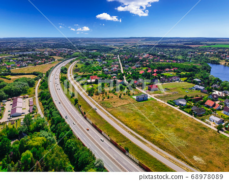 Aerial view of the tri city ring road in Poland 68978089