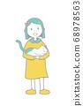 여자와 고양이 일러스트 색상 주 선 수 68978563