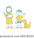 여자와 고양이 소년과 강아지 일러스트 색상 주 선 수 68978564