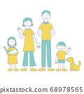 가족과 개와 고양이의 일러스트 색상 주 선 수 68978565