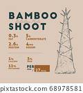 Nutririon fact of bamboo shoot, hand draw sketch 68978581