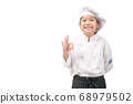 Happy asian girl chef in uniform showing OK sign  68979502