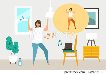 온라인 피트니스에서 춤을 여성이 68979508