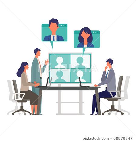 人們在會議室舉行視頻會議的插圖 68979547