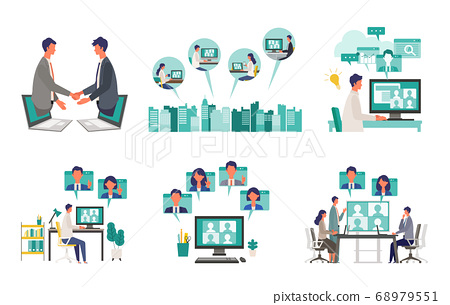 Illustration set of people over telework 68979551