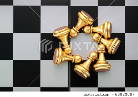 Chess board game idea of management strategy without leadership concept 68980687