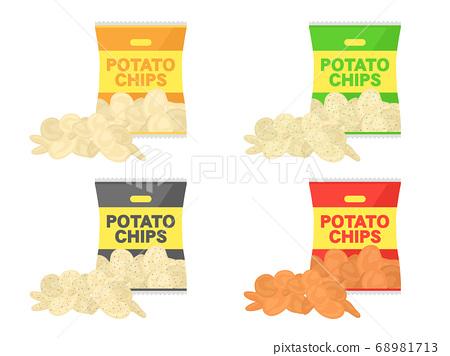 薯片的插圖集 68981713