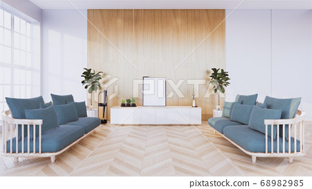 Large living room with grey sofas on both sides, 68982985