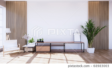 tropical room interior with cabinet and plants 68983003
