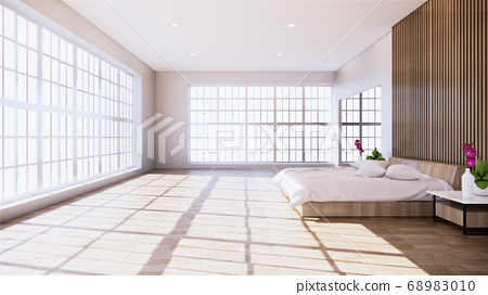 Home interior wall mock up with wooden bed in 68983010