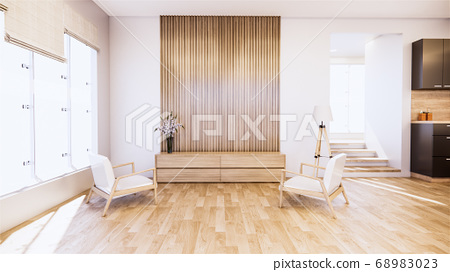 Armchair and tv cabinet on room white wall, 68983023