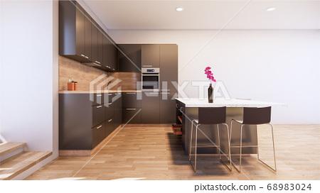 black kitchen room interior with Kitchen counter 68983024