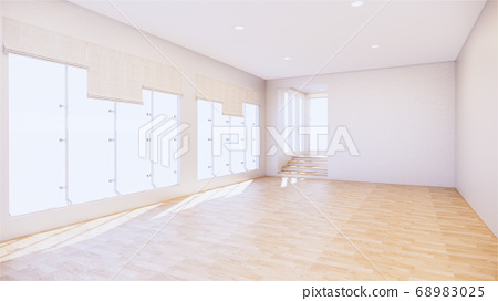 large room, wide open Clean white wall and wood 68983025
