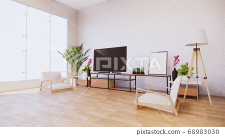 Armchair and tv cabinet on room white wall, 68983030