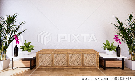 tropical room interior with cabinet and plants 68983042