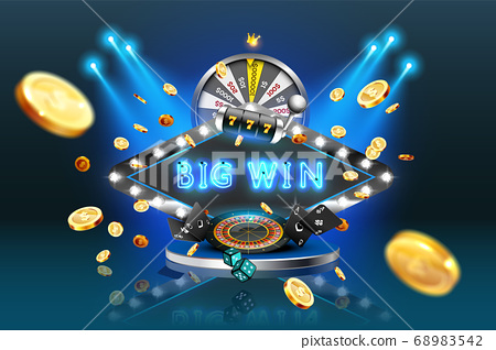 Neon advertising sign big win with casino elaments 68983542