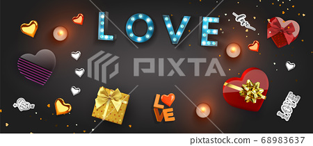 Happy Valentine's Day banner template. 68983637