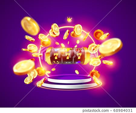 Golden slot machine wins the jackpot. 68984031