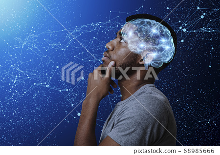 Thoughtful african american man watching stars, profile portrait 68985666