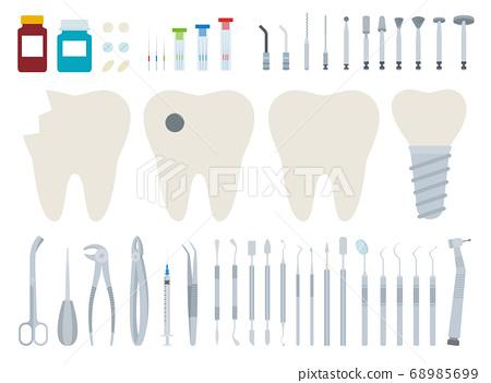 Dentist tool kit for dental treatment vector illustration in a flat design. 68985699