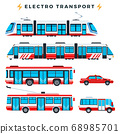 Collection of urban electric transport vector illustration in a flat design. 68985701