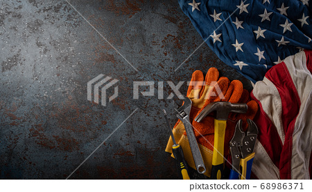 Happy Labor day concept. American flag with 68986371