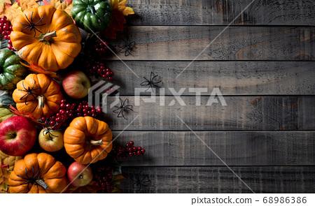 Autumn background decor from pumpkins, berries, 68986386