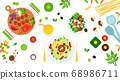 Image of pasta, salad and assorted ingredients vector illustration in a flat design. 68986711