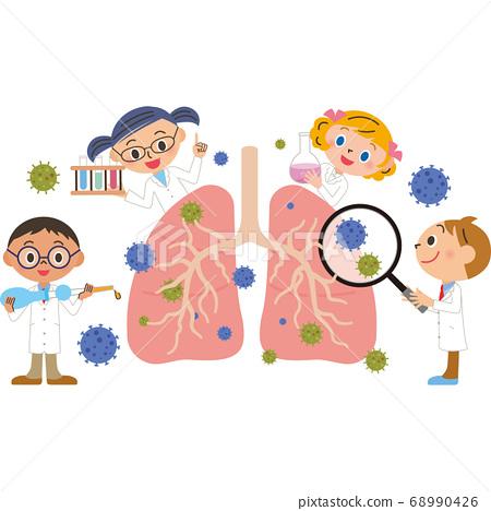 폐 치료를하는 팀 닥터 68990426