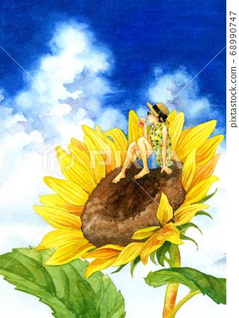 向日葵和女孩 68990747