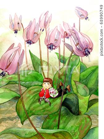 얼레지 꽃과 소녀 68990749
