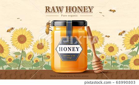 Sunflower raw honey product 68990803