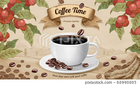 Engraving style coffee time concept 68990805
