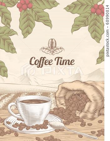Engraving coffee time backdrop 68990814