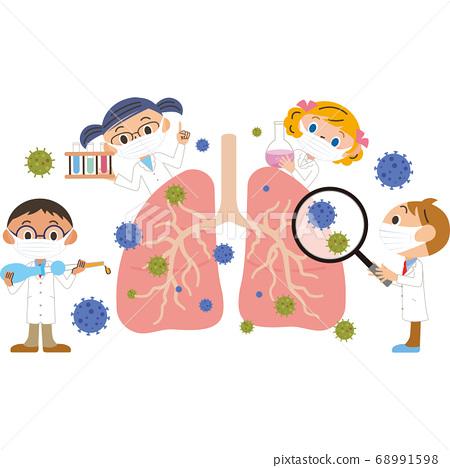 폐 치료를하는 마스크를하고있는 의사 68991598