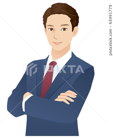 Young men arms crossed businessman 68991779