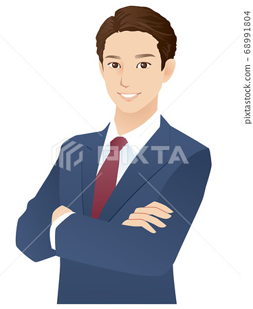 Young men arms crossed businessman 68991804