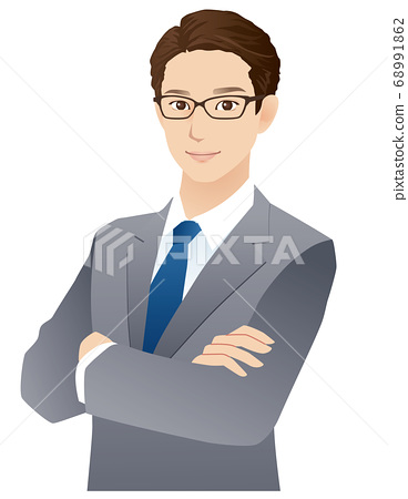 Young men arms crossed businessman 68991862