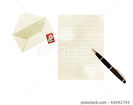 用鋼筆寫一封信信具,郵票和鋼筆 68992793