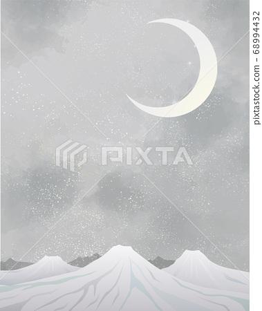 겨울 풍경 : 수채화 겨울 풍경 산 눈 설산 별 밤하늘 반짝 반짝 은하수 68994432