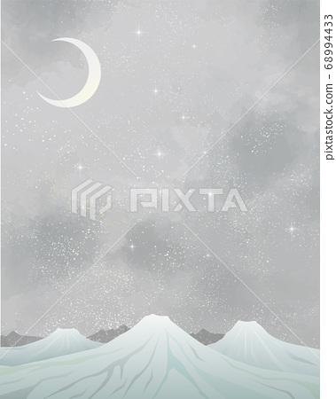 冬季風光:水彩冬季風光,山脈,雪地,雪山,繁星點點的夜空,閃閃發光的銀河系 68994433