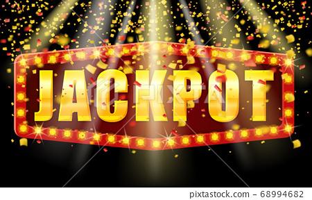 Jackpot Winner banner shining retro sign illuminated by spotlights vector 68994682