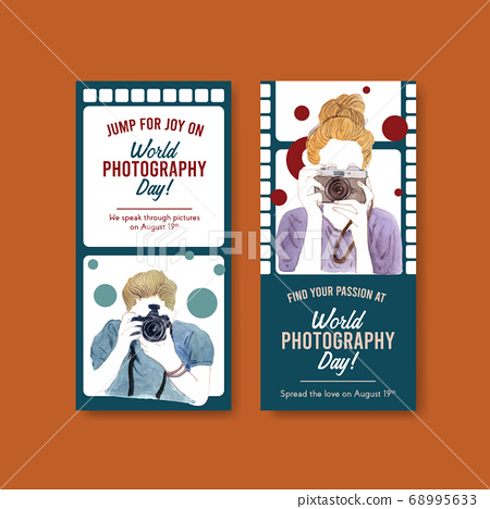 Flyer template design with World photography day 68995633