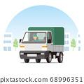 在城市運行的輕型卡車,卡車和有蓋卡車 68996351